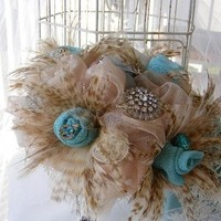 Beauty, Flowers & Decor, Jewelry, ivory, Brooches, Feathers, Bride Bouquets, Vintage, Bride, Flowers, Vintage Wedding Flowers & Decor, Bouquet, Bridal, Hand, Tied, Ribbon, Weddings, Brooch, Handmade, Large, Inspired, Croska