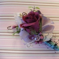 Ceremony, Flowers & Decor, purple, Ceremony Flowers, Bride Bouquets, Boutonnieres, Vintage, Bride, Flowers, Vintage Wedding Flowers & Decor, Groom, Custom, Lace, Rose, Boutonniere, Buttons, Birdcage, Tulle, Weddings, Bout, Velvet, Netting, Order, Croska