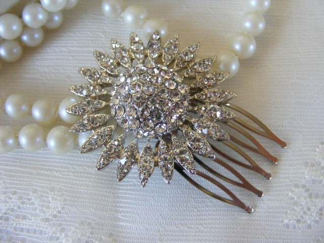 Beauty, Flowers & Decor, Jewelry, white, silver, Earrings, Brooches, Comb, Vintage, Bride, Flower, Wedding, Hair, Bridal, Brooch, Hollywood, Glamour, Rhinestones, Clear, Croska, Repurposed