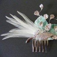 Beauty, Flowers & Decor, Jewelry, Veils, Fashion, ivory, green, Brooches, Feathers, Comb, Accessories, Flowers, Flower, Veil, Hair, Bridal, Brooch, Fascinator, Mint, Clip, Women, Croska, Flower Wedding Dresses, Feather Wedding Dresses