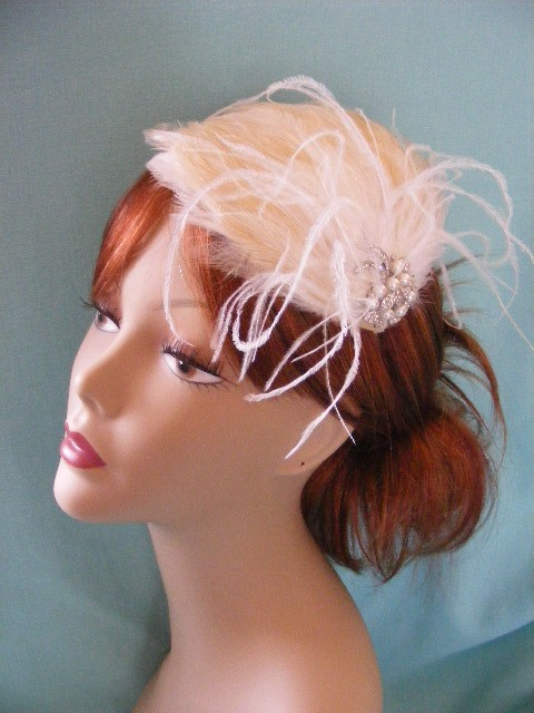 Beauty, Flowers & Decor, Jewelry, white, ivory, Brooches, Headbands, Feathers, Vintage, Accessories, Flower, Hair, Bridal, Pearls, Weddings, Brooch, Headband, Rhinestones, Croska