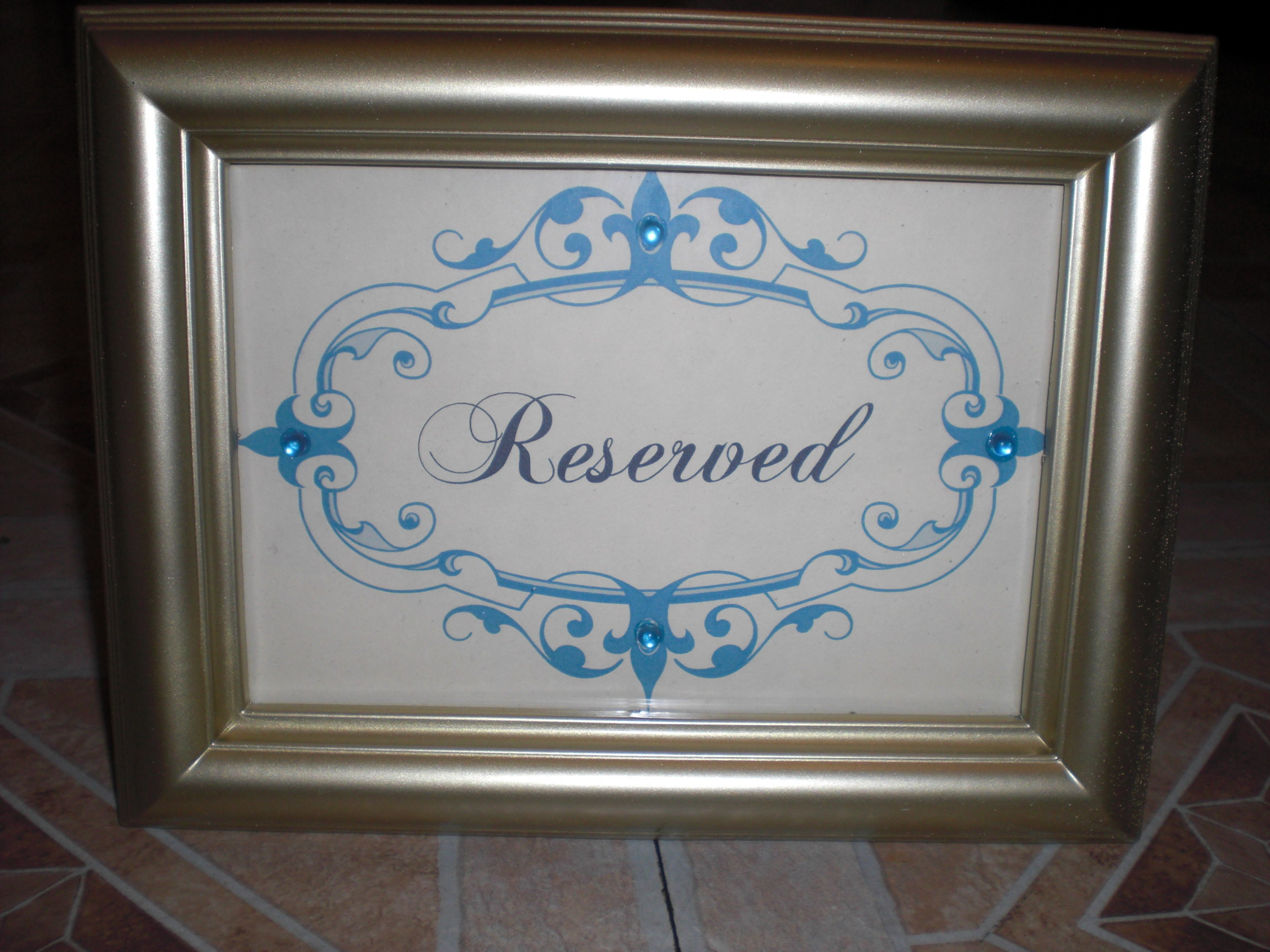Reception, Flowers & Decor, blue, gold, Sign, Reserved