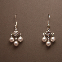 Jewelry, white, silver, Earrings, Bridal, Crystal, Swarovski, Chandelier, Rhinestone, Pearl, Small, Sterling, Clear, Shacara jewelry
