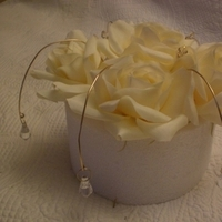 Reception, Flowers & Decor, Cakes, white, ivory, gold, cake, Centerpieces, Flower, Centerpiece, Crystal, Bling