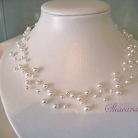 Jewelry, white, Necklaces, Bridal, Necklace, Swarovski, Pearl, Layered, Multi, Illusion, Strand, Multistrand, Shacara jewelry