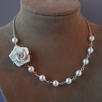 Flowers & Decor, Jewelry, white, Necklaces, Garden, Flower, Bridal, Floral, Rose, Asymmetrical, Necklace, Swarovski, Pearl, Porcelain, Shacara jewelry