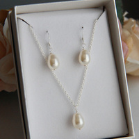 Jewelry, Bridesmaids, Bridesmaids Dresses, Fashion, white, Necklaces, Gift, Bridal, Necklace, Swarovski, Set, Teardrop, Earring, Pearl, Shacara jewelry, Pearshape