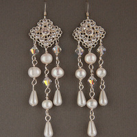 Jewelry, white, silver, Earrings, Bridal, Long, Glamorous, Swarovski, Chandelier, Rhinestone, Pearl, Filigree, Freshwater, Shacara jewelry