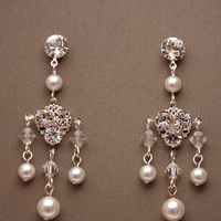 Jewelry, white, silver, Earrings, Bridal, Long, Swarovski, Chandelier, Rhinestone, Pearl, Filigree, Sterling, Sparkly, Shacara jewelry