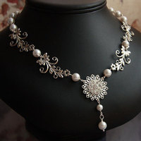 Jewelry, white, silver, Necklaces, Vintage, Bridal, Necklace, Swarovski, Style, Look, Rhinestone, Pearl, Filigree, Shacara jewelry, Meatl