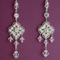 Jewelry, silver, Earrings, Bridal, Long, Crystal, Glamorous, Swarovski, Chandelier, Rhinestone, Filigree, Clear, Shacara jewelry