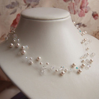 Jewelry, white, Necklaces, Romantic, Bridal, Crystal, Necklace, Swarovski, Floating, Pearl, Soft, Illusion, Dainty, Shacara jewelry