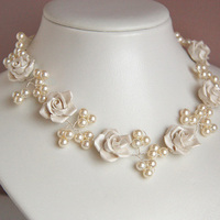 white, ivory, Roses, Bridal, Vine, Necklace, Pearl, Porcelain, Shacara jewelry