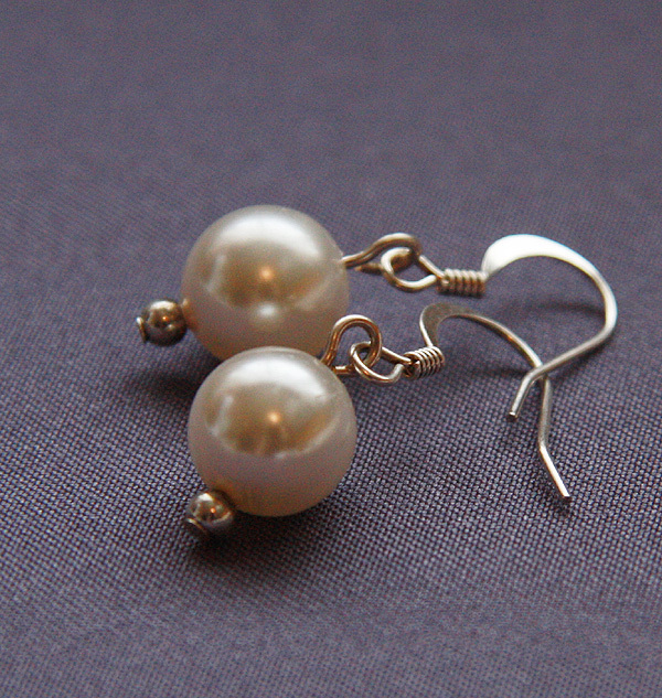 Jewelry, white, Earrings, Bridal, Swarovski, Simple, Drop, Pearl, Dangle, Shacara jewelry
