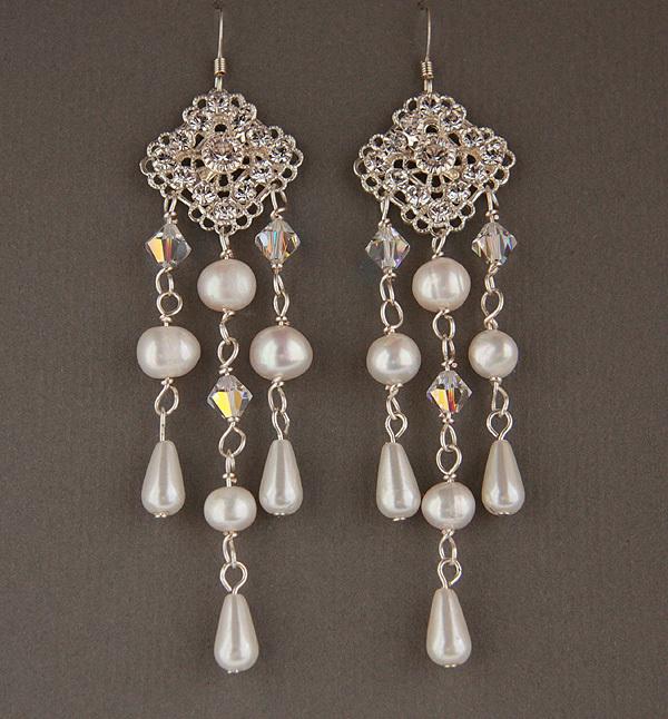 Jewelry, white, silver, Earrings, Bridal, Long, Glamorous, Swarovski, Chandelier, Rhinestone, Pearl, Filigree, Freshwater, Shacara jewelry