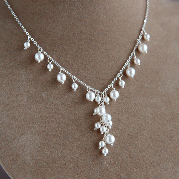 Jewelry, white, silver, Necklaces, Bridal, Pearls, Necklace, Swarovski, Waterfall, Cascade, Shacara jewelry, Stering