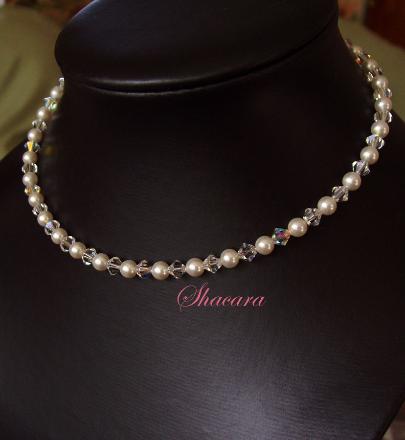 Jewelry, white, Necklaces, Bridal, Crystal, Necklace, Swarovski, Pearl, Single, Strand, Shacara jewelry