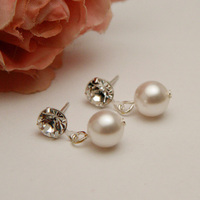 Jewelry, white, Earrings, Bridal, Crystal, Swarovski, Rhinestone, Pearl, Stud, Post, Shacara jewelry