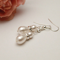 Jewelry, white, Earrings, Bridal, Swarovski, Teardrop, Rhinestone, Pearl, Shacara jewelry, Pearshape, Diamante, Rondelle