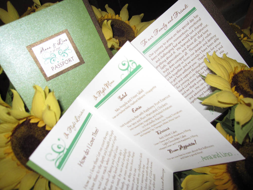 Ceremony, Reception, Flowers & Decor, Stationery, green, brown, Invitations, Ceremony Programs, Program, La design boutique, Multi-page, Accordian