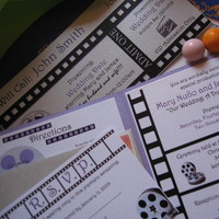 Stationery, purple, silver, invitation, Invitations, Reply Cards, Rsvp, Theme, Card, Directions, Movie, La design boutique, Cinema