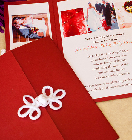 Ceremony, Flowers & Decor, Stationery, white, red, Announcements, Invitations, Chinese, Photos, Announcement, Invite, Gatefold, Papercake designs, Closure