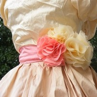 Flowers & Decor, Bridesmaids, Bridesmaids Dresses, Wedding Dresses, Fashion, white, yellow, pink, dress, Bride Bouquets, Bridesmaid Bouquets, Corsages, Accessories, Flowers, Flower, Bouquet, Wedding, Bridal, Sash, Belt, Weddings, Chiffon, Corsage, Silk, Blush, Croska, Flower Wedding Dresses, Chiffon Wedding Dresses, Silk Wedding Dresses