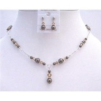 Brown Pearls Lite Smoked Topaz Jewelry Set Drop Down Necklace Set