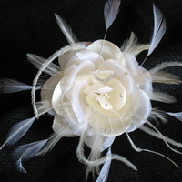 Beauty, Flowers & Decor, Bridesmaids, Bridesmaids Dresses, Fashion, white, Comb, Flower, Hair, Bridal, Rose, Couture, Headpiece, Accessory, Silk, Hairpiece, Alice hart couture millinery, Alice, Hart, Feathered, Silk Wedding Dresses