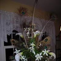 Beauty, Flowers & Decor, white, blue, Feathers, Flowers, Calla, Lilies, Peacock