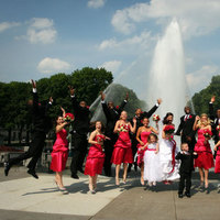 Bridesmaids, Bridesmaids Dresses, Fashion, pink, black, Party, Fountain, Bridal, Jump, Red barn pictures