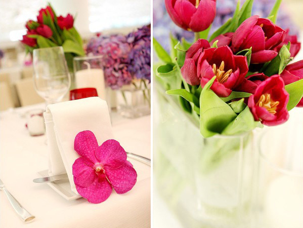 Reception, Flowers & Decor, pink, purple, green, Centerpieces, Flowers, Orchids, Tulips, Napkins, Ashley bartoletti photography