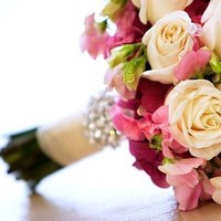Flowers & Decor, white, pink, Bride Bouquets, Flowers, Roses, Bouquet, Broach, Ashley bartoletti photography