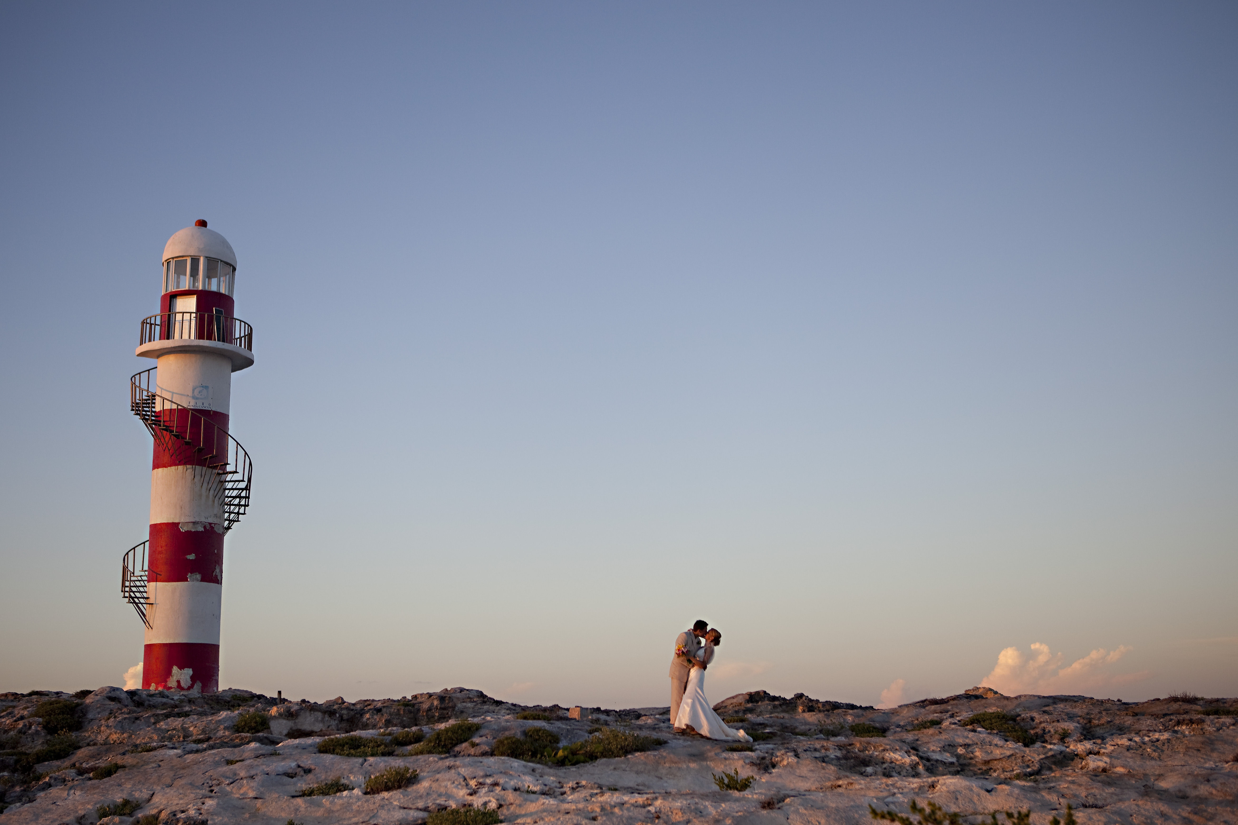 Destinations, Mexico, Bride, Groom, Portrait, Sunset, Lighthouse, Cancun, Ashley bartoletti photography
