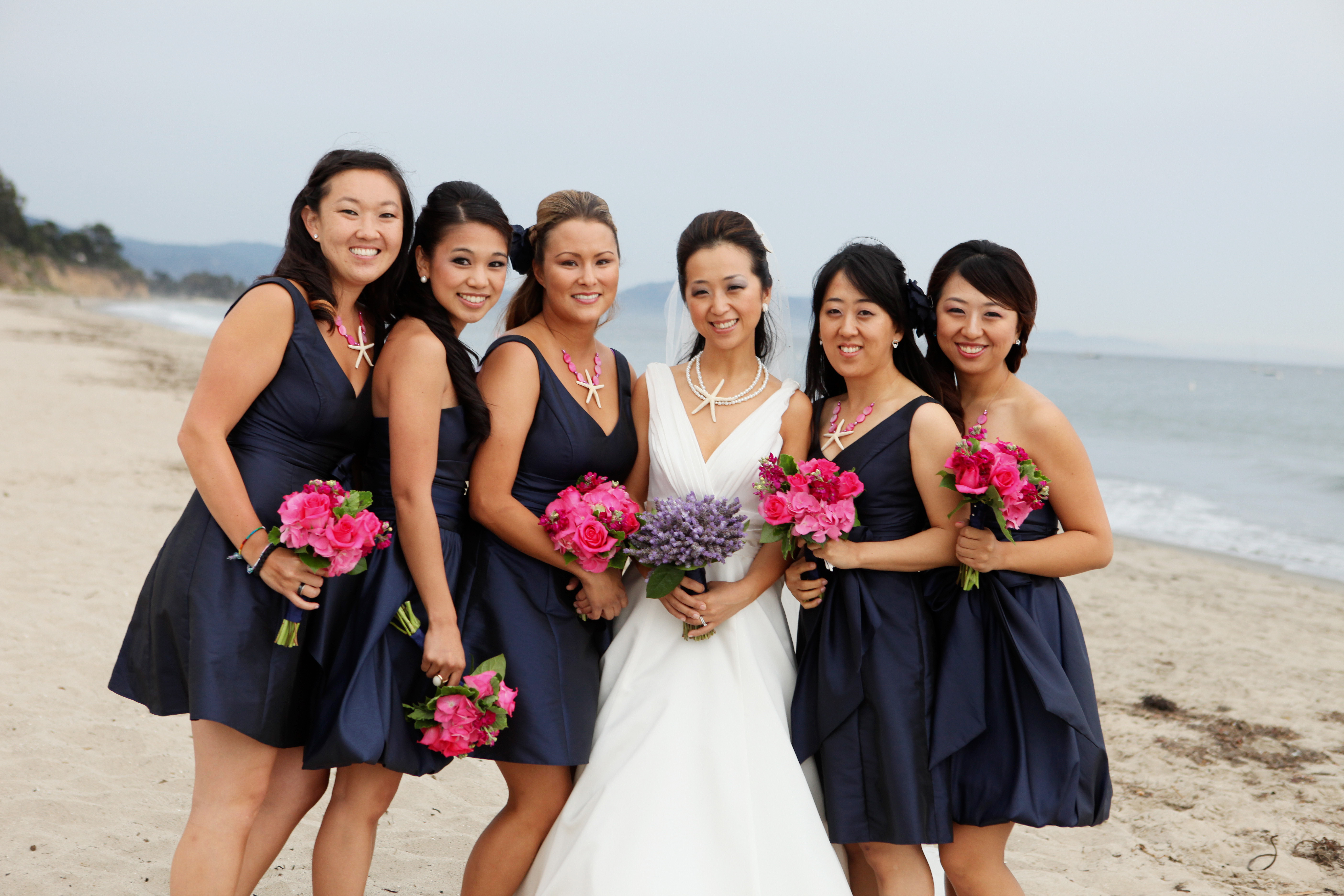 Flowers & Decor, Bridesmaids, Bridesmaids Dresses, Beach Wedding Dresses, Fashion, pink, purple, blue, Beach, Bridesmaid Bouquets, Flowers, Beach Wedding Flowers & Decor, santa, Barbara, Ashley bartoletti photography, Flower Wedding Dresses