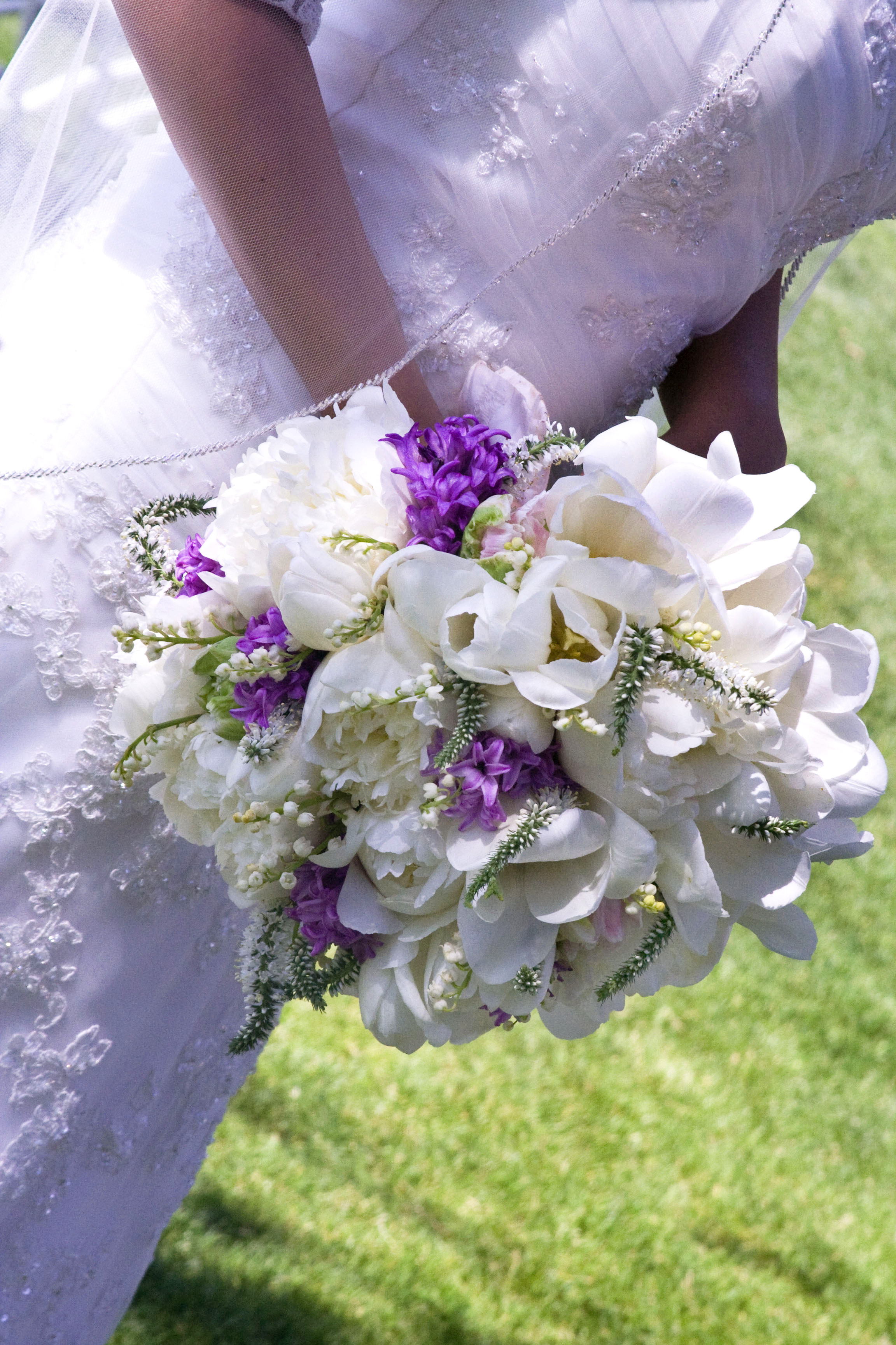 Ceremony, Inspiration, Reception, Flowers & Decor, white, purple, Ceremony Flowers, Bride Bouquets, Flowers, Bouquet, Of, Bridal, Tulips, Board, The, Lily, French, Valley, Hyacinth, Veronica, Simply that flowers, Poenies