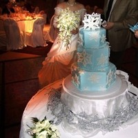 Reception, Flowers & Decor, Cakes, white, blue, silver, cake