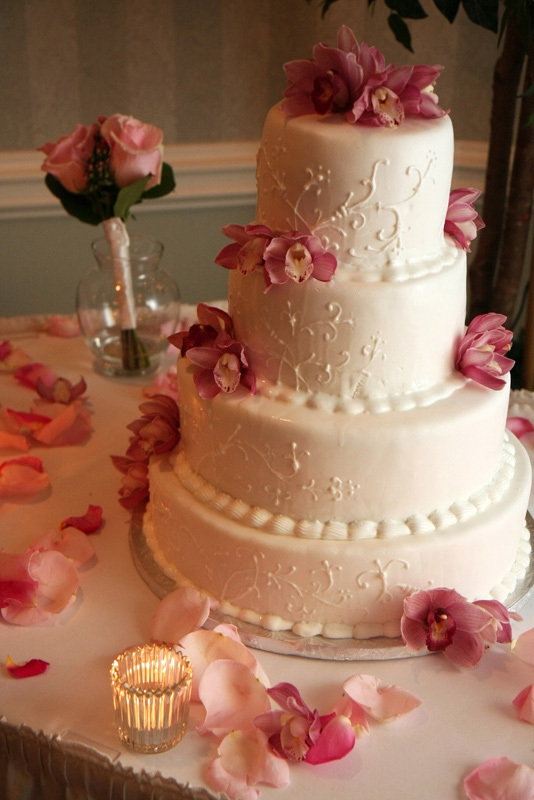 Reception, Flowers & Decor, Cakes, white, pink, cake, Waterford at fair oaks