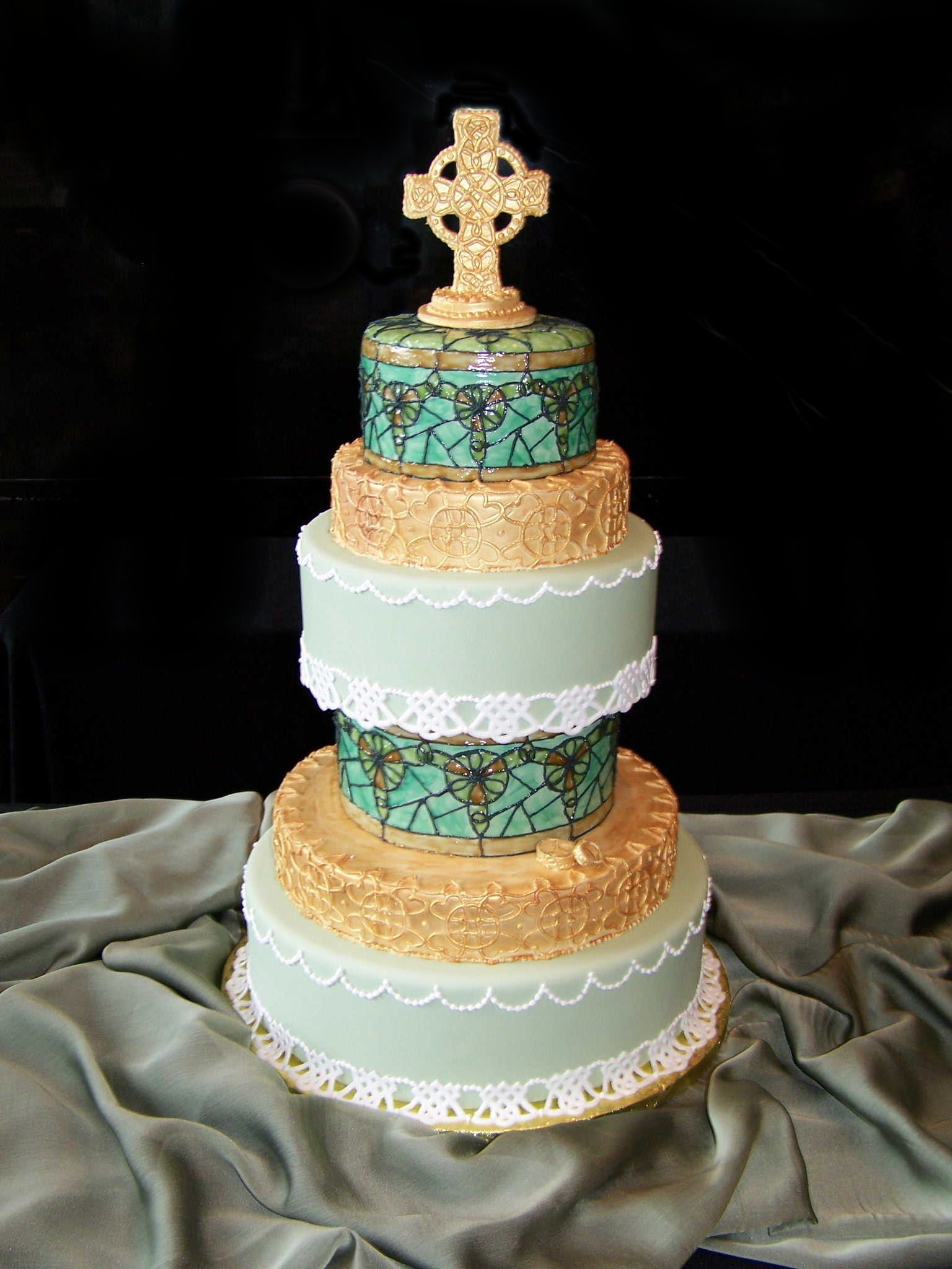 Cakes, white, green, brown, black, gold, cake, Cakes by suzy