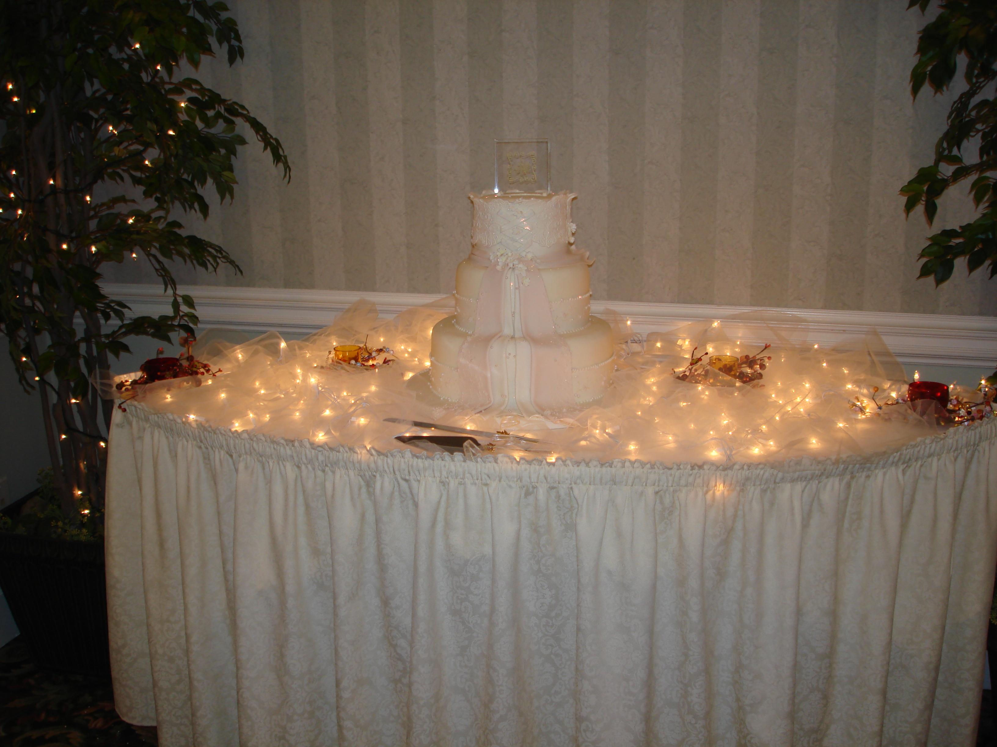 Reception, Flowers & Decor, Cakes, white, cake, Lighting, Wedding