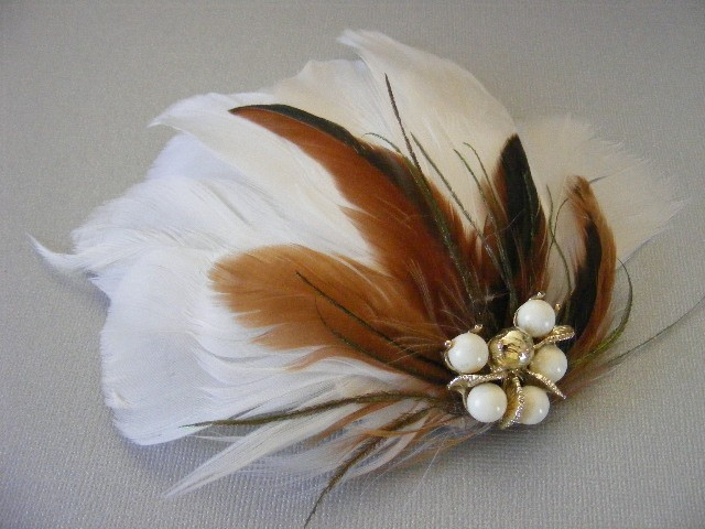 Beauty, Flowers & Decor, Jewelry, white, ivory, silver, Brooches, Headbands, Feathers, Comb, Bride Bouquets, Vintage, Bride, Accessories, Flowers, Vintage Wedding Flowers & Decor, Wedding, Hair, Bridal, Headpiece, Brooch, Headband, Clip, Croska