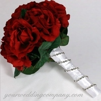Ceremony, Flowers & Decor, white, red, silver, Ceremony Flowers, Flowers, Rose, Rhinestone, Your wedding company, Wedding bouquet, Satin-ribbon, Handle, Rhinestone chain