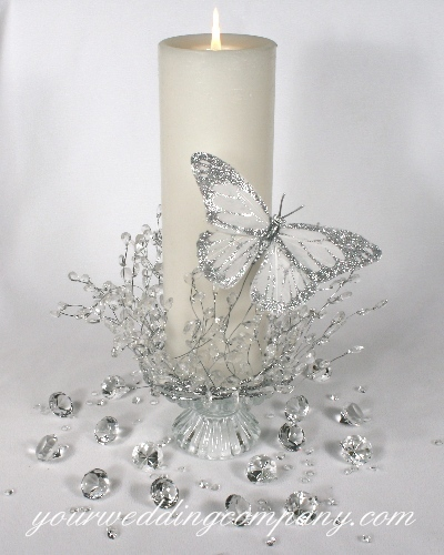 Ceremony, Reception, Flowers & Decor, white, silver, Ceremony Flowers, Centerpieces, Centerpiece, Candle, Unity candle, Garland, Diamonds, Your wedding company, Confetti, Glittered, Pillar, Feather butterfly