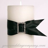 Ceremony, Reception, Flowers & Decor, white, black, silver, Ceremony Flowers, Centerpieces, Centerpiece, Unity candle, Rhinestone, Black white, Your wedding company, Buckle, Pillar candle