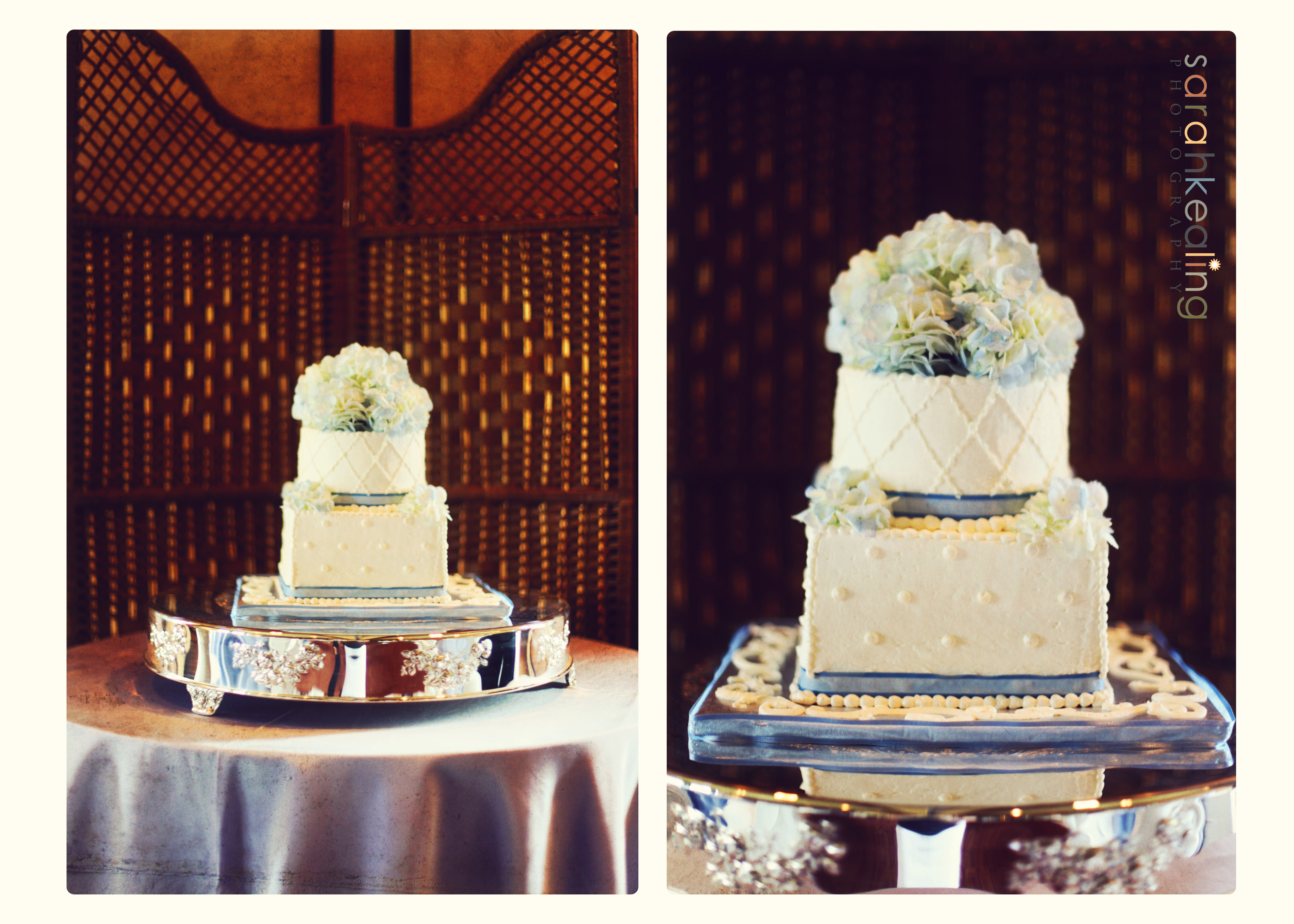 Cakes, white, purple, blue, cake, Sarah kealing photography