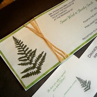 Stationery, white, green, invitation, Invitations, Wedding, Custom, Fern, Handmade, Fanfare handmade invitations and correspondence