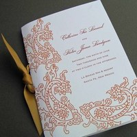 Ceremony, Inspiration, Flowers & Decor, Stationery, orange, Invitations, Ceremony Programs, Wedding, Program, Board, Paisley, The write touch, Bullentin