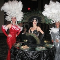 Reception, cake, black, Table, Vegas, Strolling, Showgirl, Strolling tables - talented tables, Cakes, Flowers & Decor