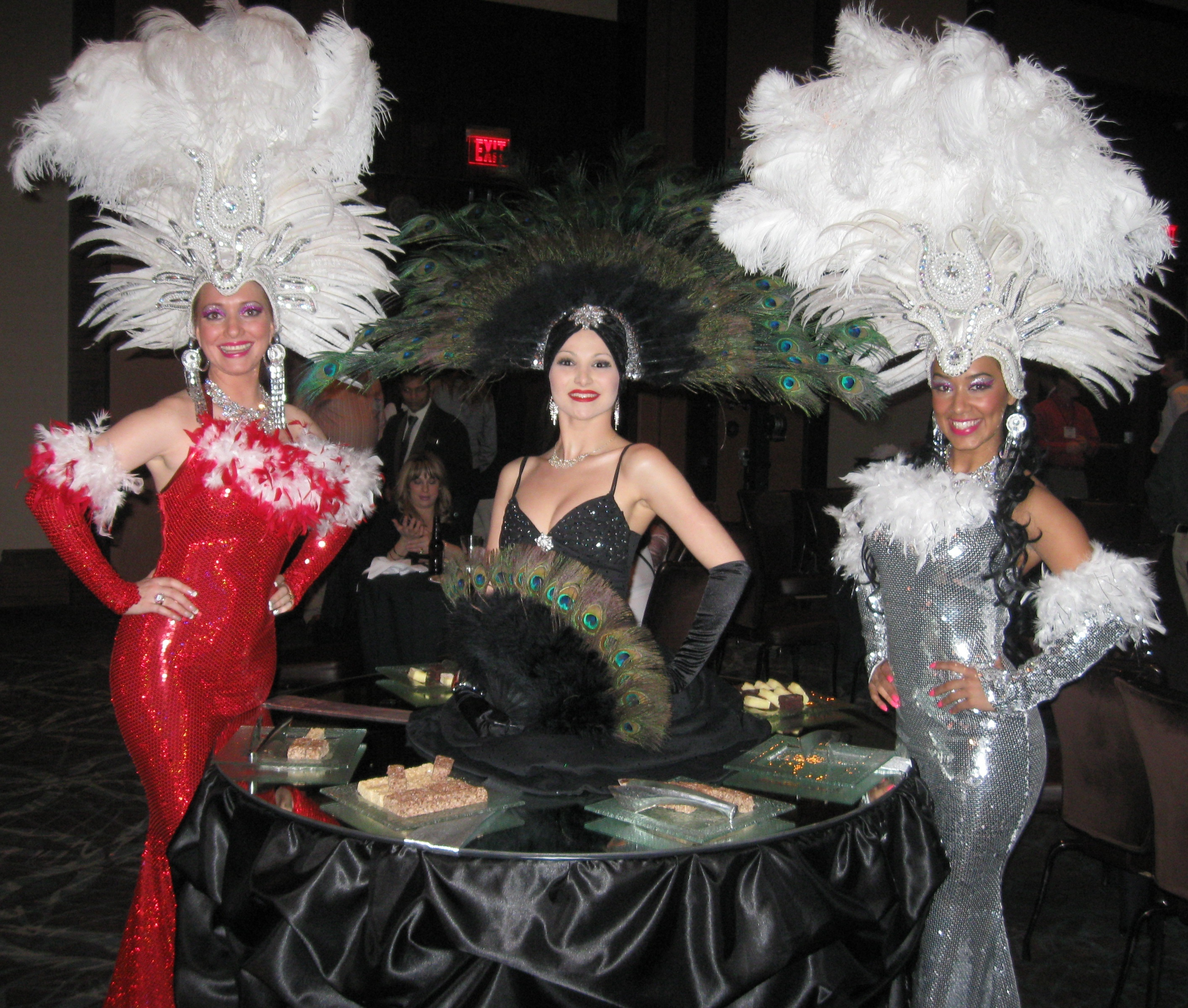 Reception, Flowers & Decor, Cakes, black, cake, Table, Vegas, Strolling, Showgirl, Strolling tables - talented tables