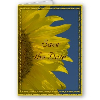 Flowers & Decor, Stationery, yellow, blue, Announcements, Invitations, Save-the-Dates, Flower, Save the date, Floral, Announcement, Sunflower, Announce, A wedding collection by lora severson photography, Wedding save the date, Sunflower wedding, Floral wedding